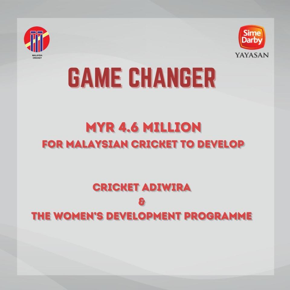 Game Changer - MYR 4.6 Million For Malaysian Cricket To Develop Cricket Adiwira & The Women Development Programme