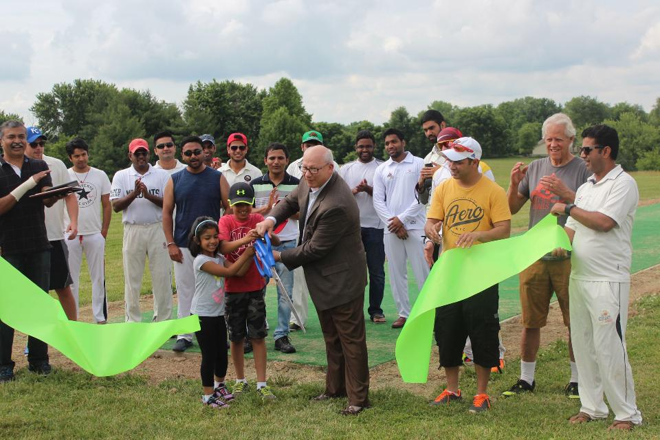 Stocksdale Park Cricket Pitch Ribbon Cutting June 4th 2017 in partnership with the City of Liberty MO.